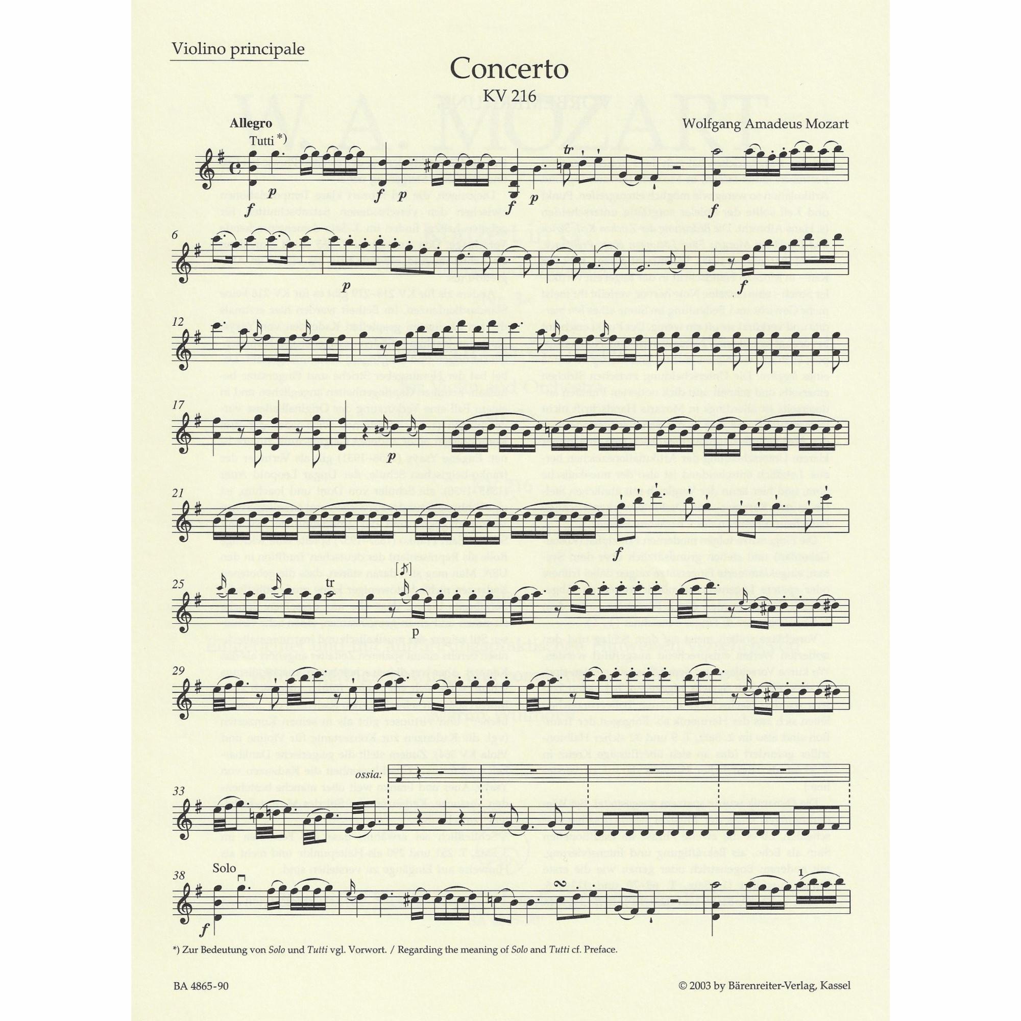 Violin Concerto No 3 In G Major K 216 Southwest Strings
